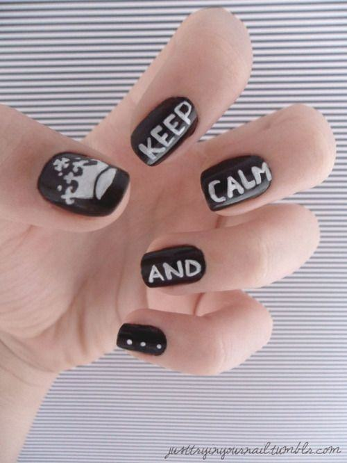 Keep Calm and Carry on Nail art