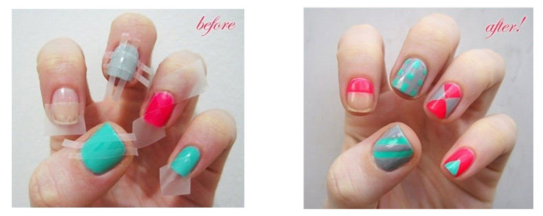 10 diy nail art tricks to try fingernails2go cut sellotape into fine strips and position on your nails as shown above or however you fancy fill in the gaps with a contrasting colour once dry youll prinsesfo Gallery
