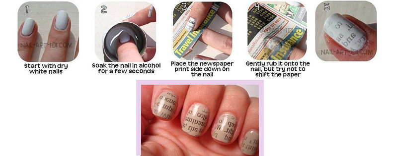 10 diy nail art tricks to try fingernails2go 3 a clever newspaper print prinsesfo Image collections